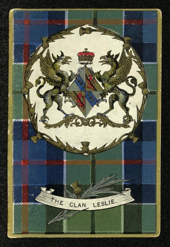 Clan Tartan Heraldic Series postcards: Clan Leslie