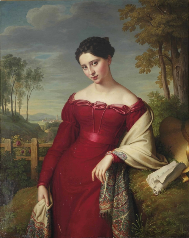Portrait of a young elegant lady, three-quarter length, in a red dress with an embroidered shawl, standing in a landscape