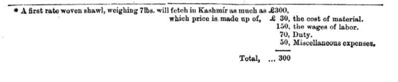 Calculations for cost of production of a Kashmir shawl.