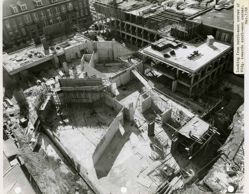 """Construction Photograph """"Looking from north-east corner of Bldg. to north-west, March 7, 1968."""