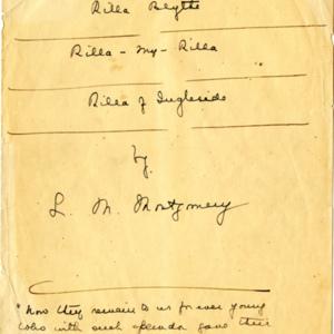 Rilla Manuscript